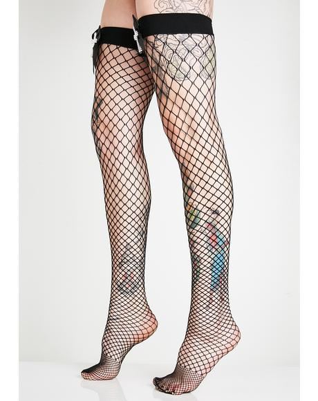 Sinful Confession Fishnet Thigh Highs