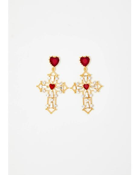 Praying For Love Cross Earrings