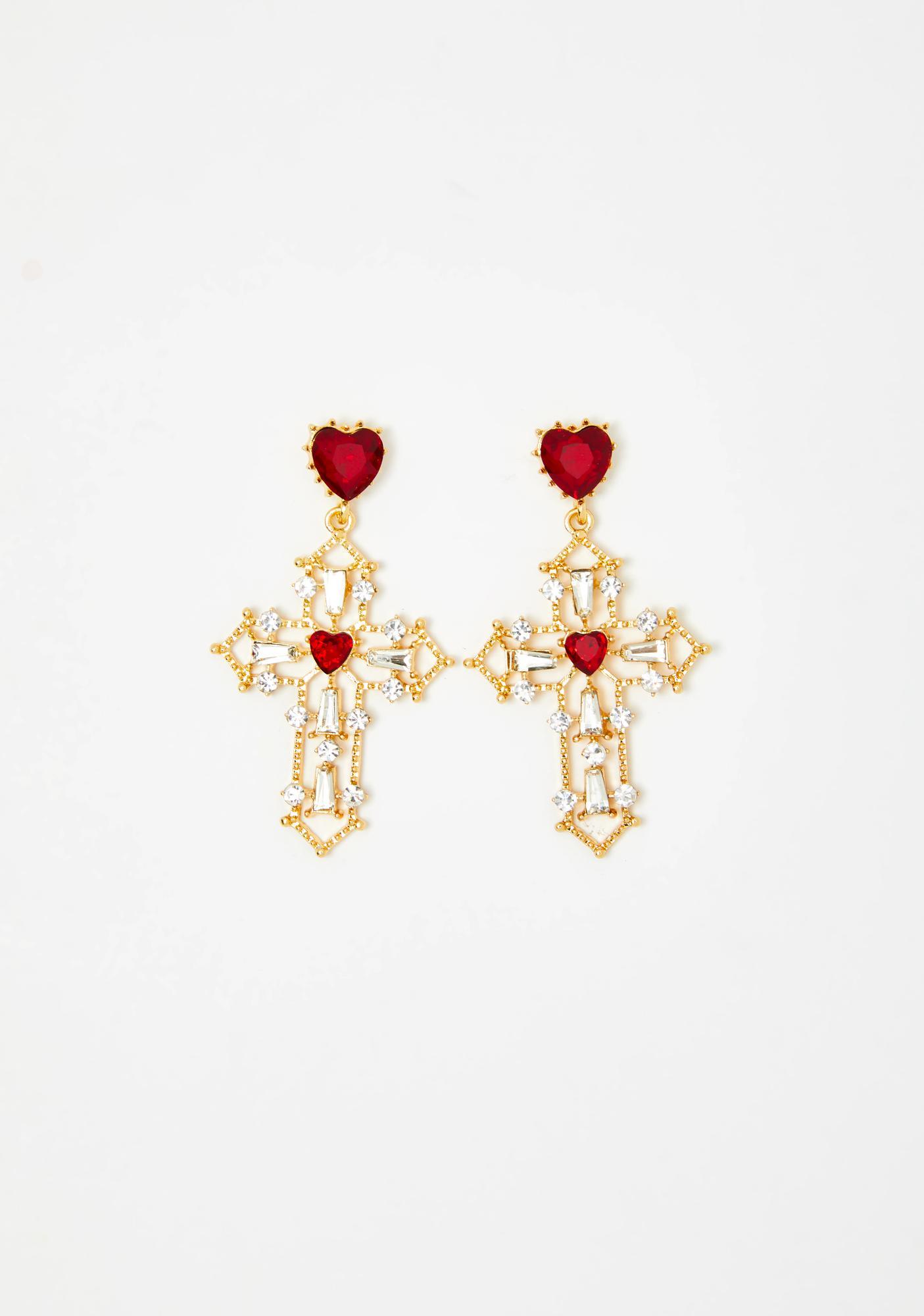 Praying For Love Cross Earrings