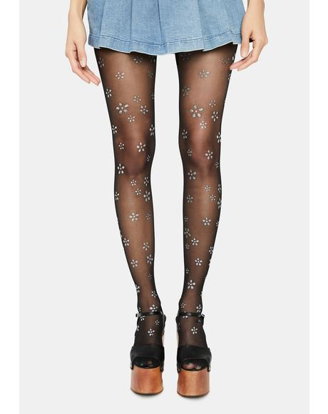Chrome That 70's Glow Flower Print Tights