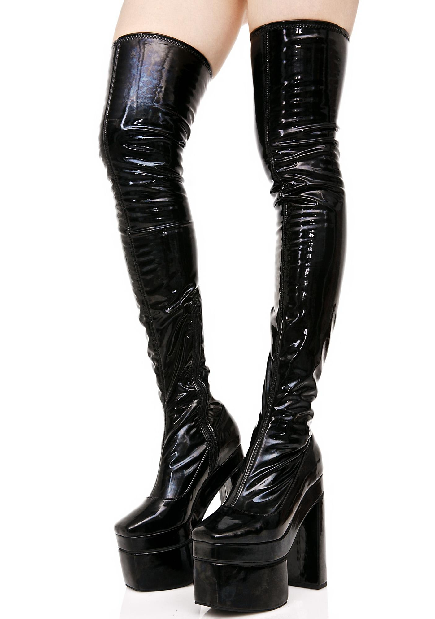 Black Vinyl Thigh High Platform Boots | Dolls Kill