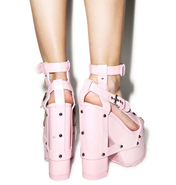 Y.R.U. Pink Nightcall Platform Heels