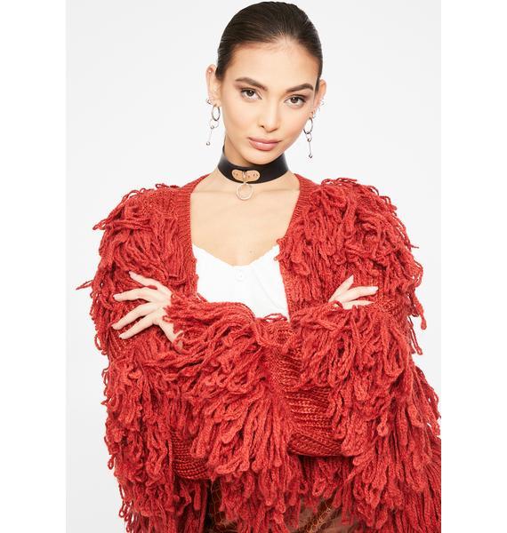 Glamorous Long Sleeve Shaggy Knit Cardigan