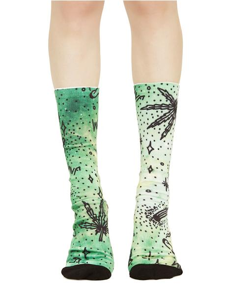 Space Burnout Digital Crew Socks