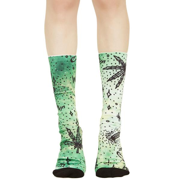 HUF Space Burnout Digital Crew Socks