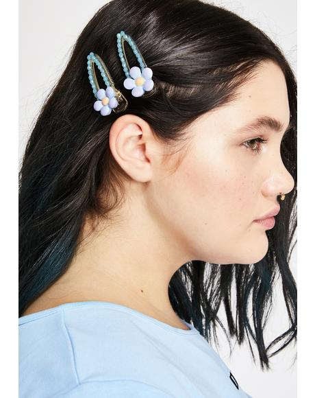 Sky Daised Flower Hair Clips