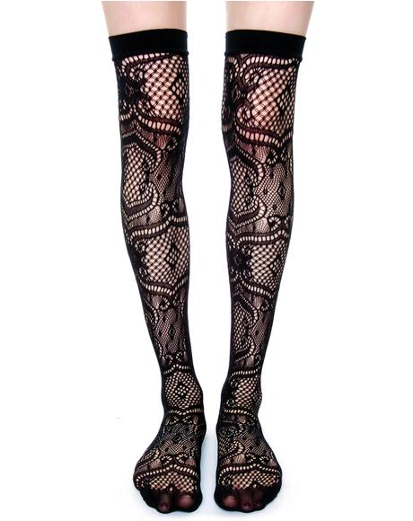 Lace Thigh High Tights
