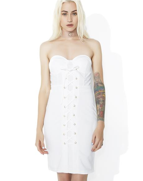 Hell's Angel Strapless Lace-Up Dress