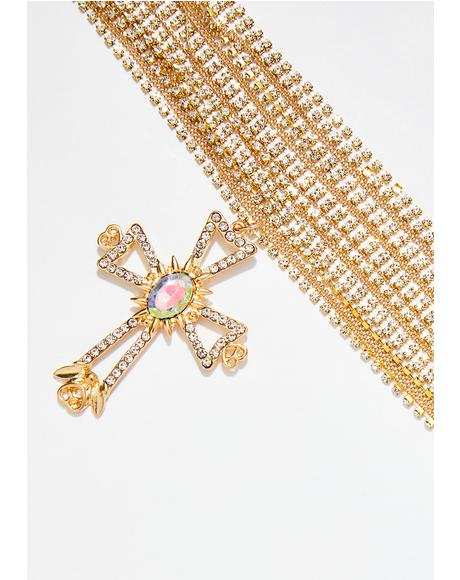 Cross That Layered Rhinestone Cross Necklace