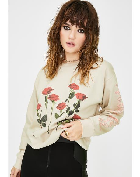 Rose Graphic Pullover Sweatshirt