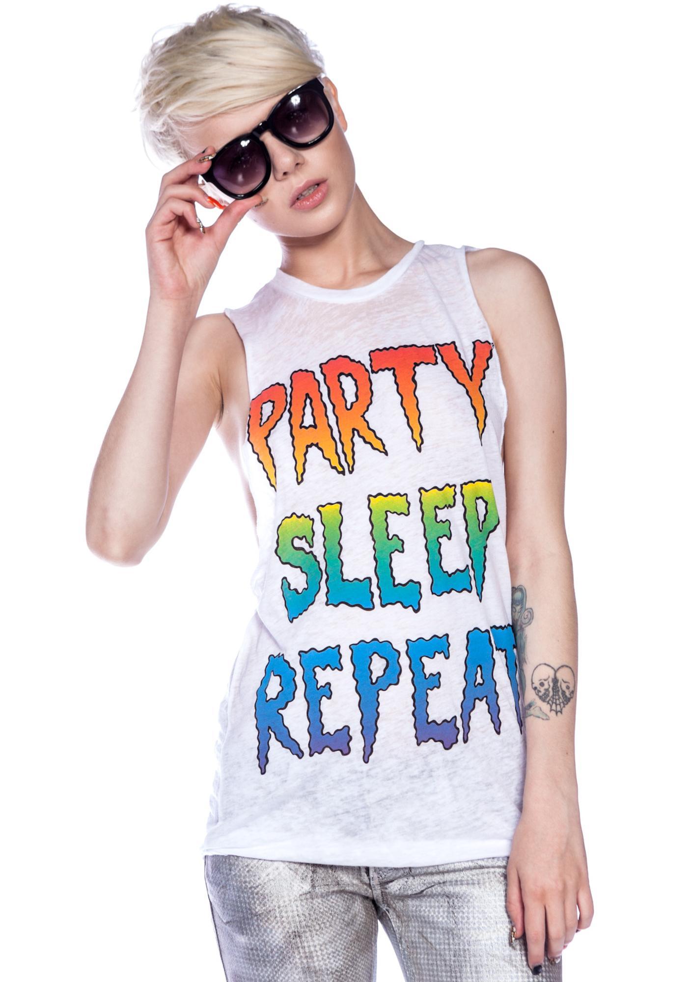Jac Vanek Party Sleep Repeat Burnout Unisex Muscle Tee
