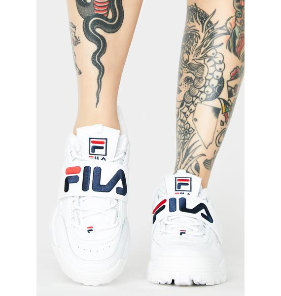 Fila White Disruptor II Applique Sneakers