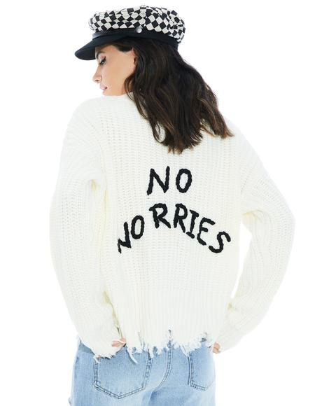 Not Stressin' Shredded Sweater