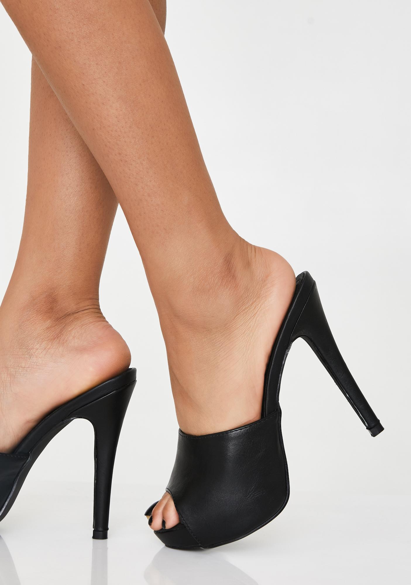 Vegan Leather Peep Toe Stiletto Mules