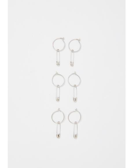 Piercing Thoughts Safety Pin Hoop Set