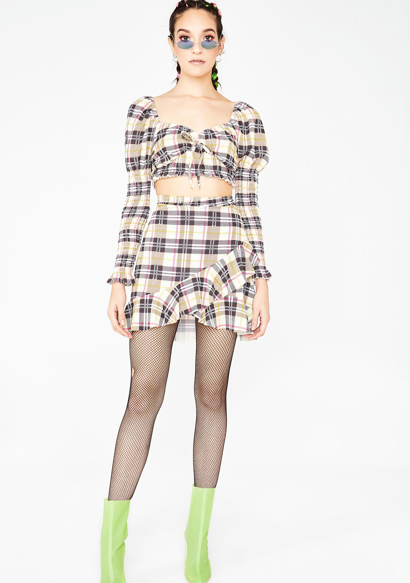 NEW GIRL ORDER Check Shirred Crop Top