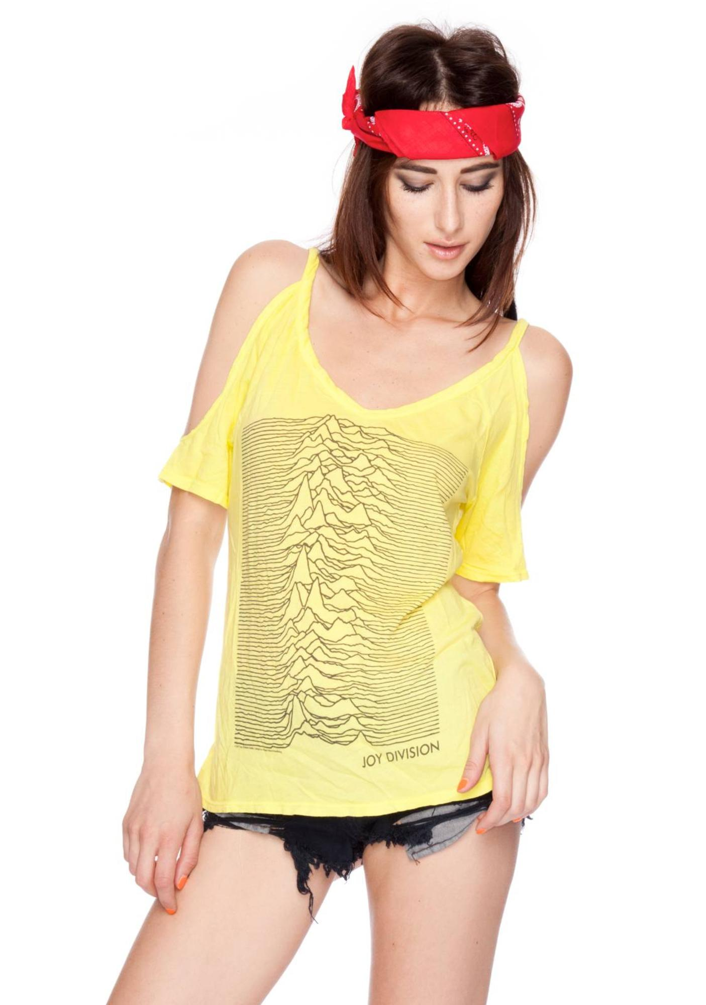 Chaser Joy Division Unknown Pleasures Cold Shoulder Shirt