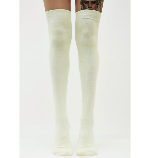 Skipped Class Thigh High Socks