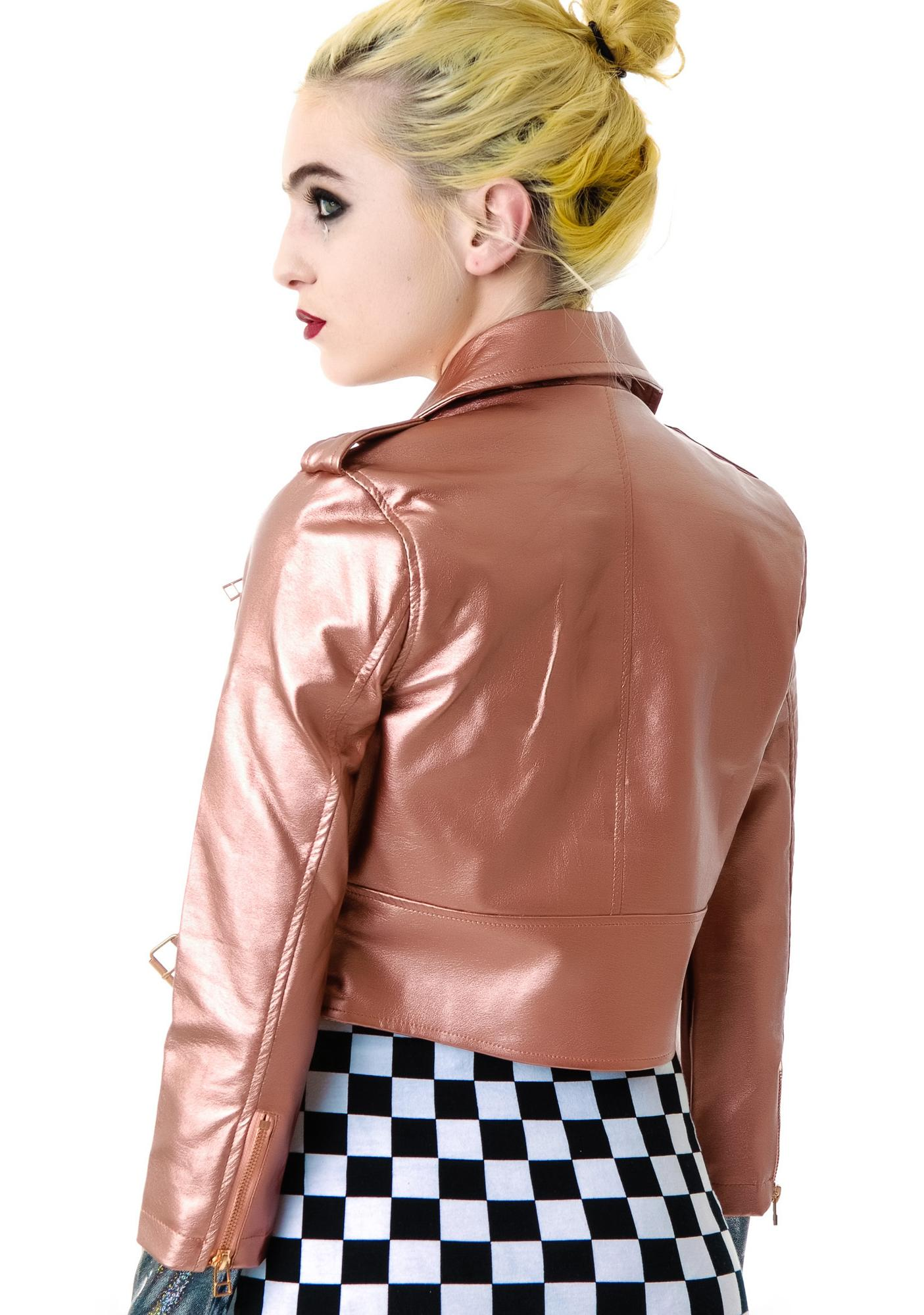 Lip Service Copper Vinyl Leather Moto Jacket