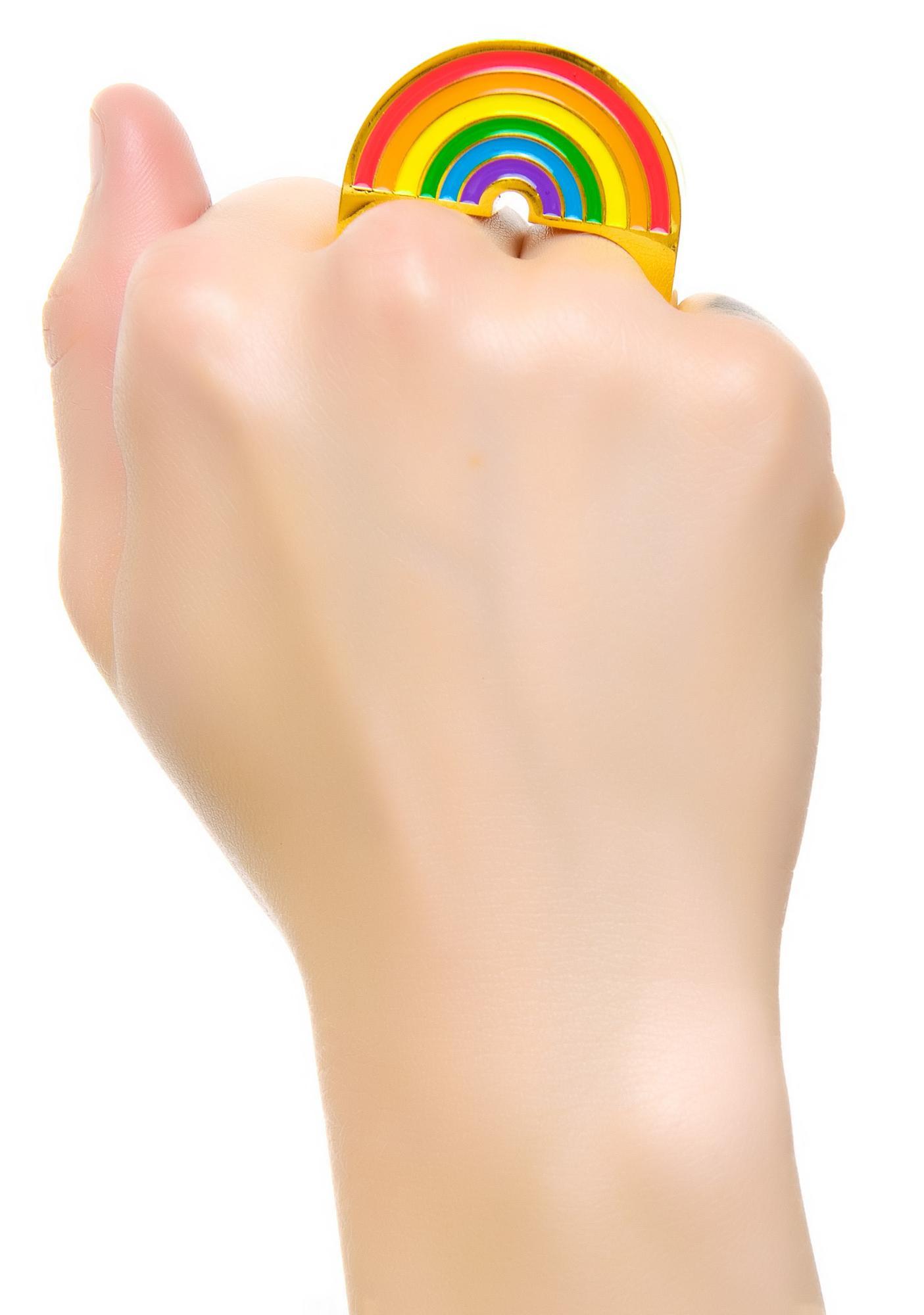 Rainbow Bright 2 Finger Ring