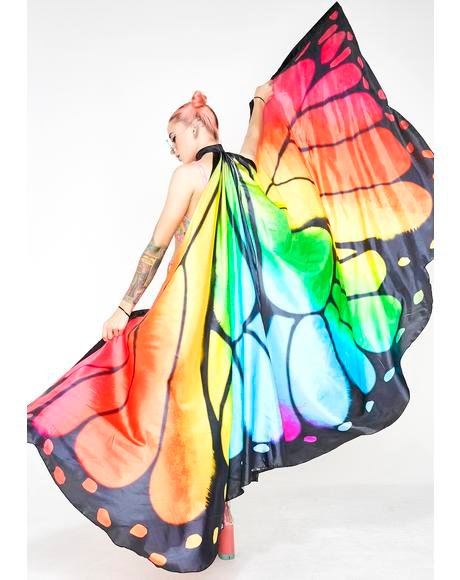 Rainbow Butterfly Wings Cape