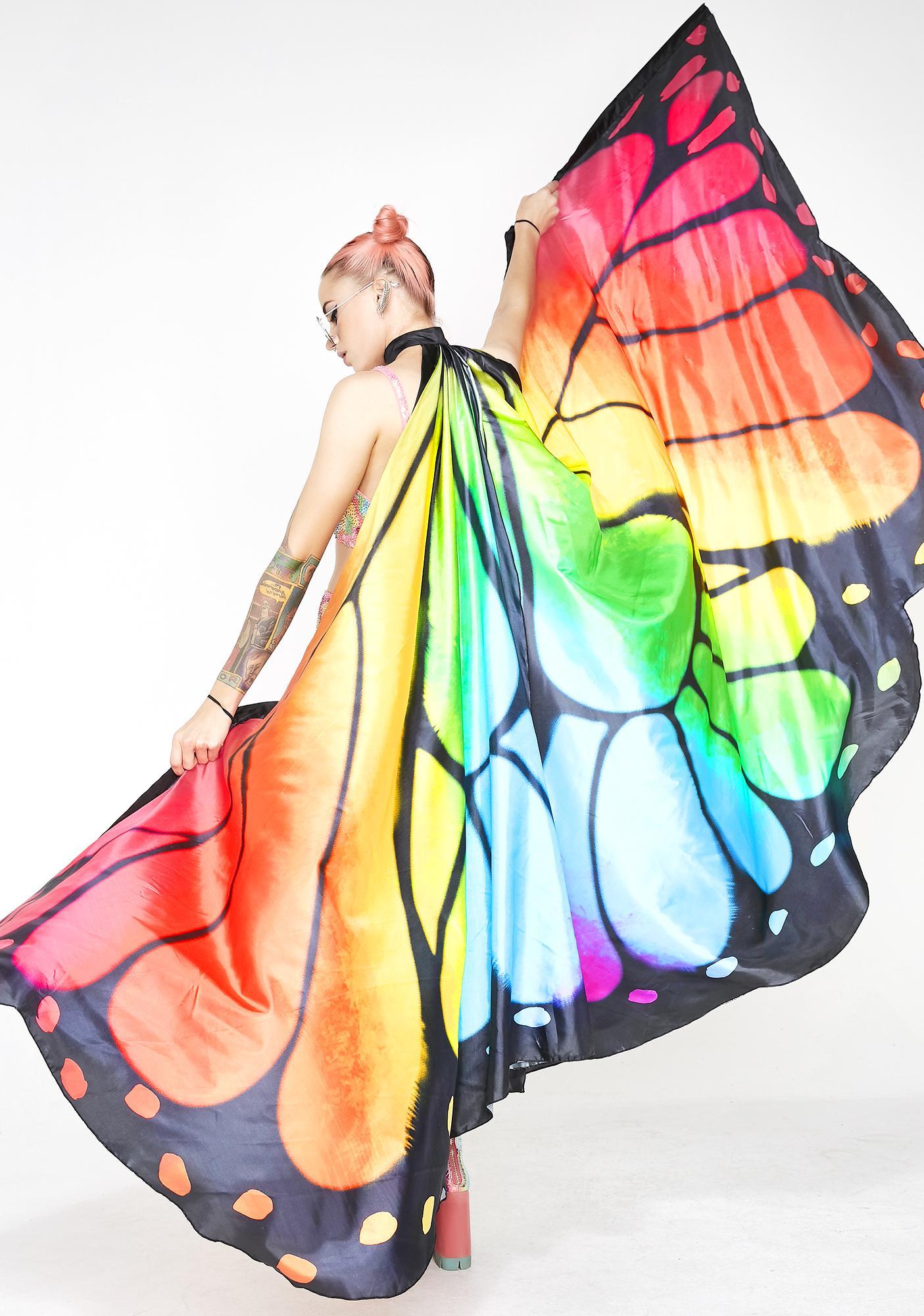 Rainbow Butterfly Wings Cape