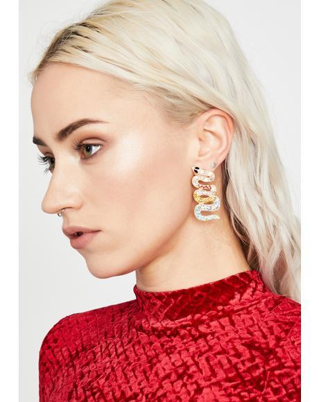 Bitten By Badness Snake Earrings