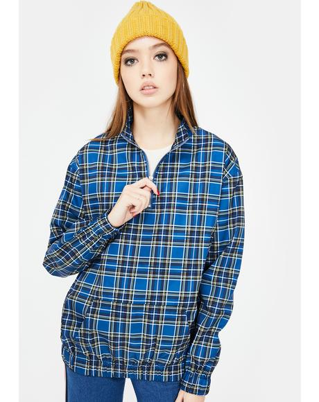 Checkered Quarter Zip Pullover
