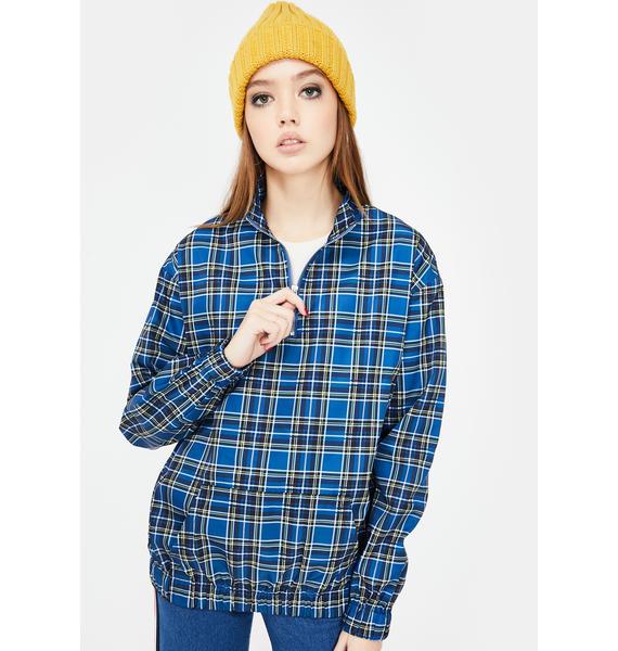 Daisy Street Checkered Quarter Zip Pullover