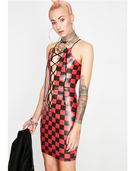 Hot Think Fast Checkered Dress