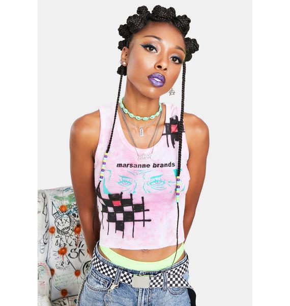 Marsanne Brands Cropped Eyes Tank Top