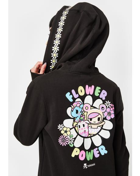 Flower Power Zip Up Hoodie Sweatshirt