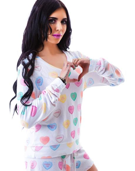 Sweet Heart V-Neck Baggy Beach Jumper