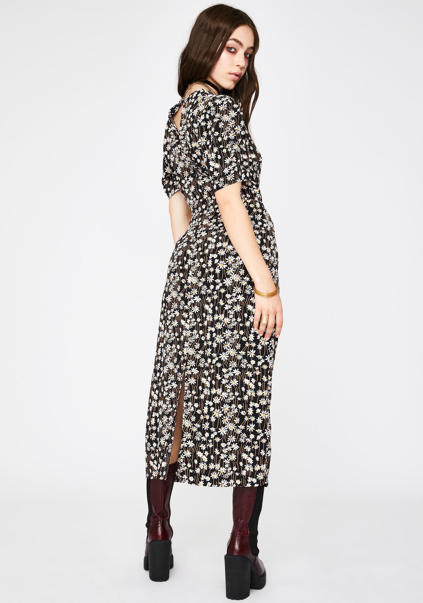 Glamorous Black Daisy Midi Dress