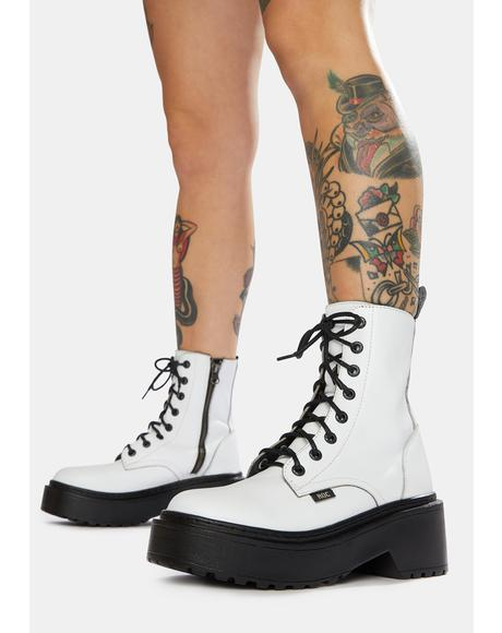 Tomboy White Leather Combat Boots
