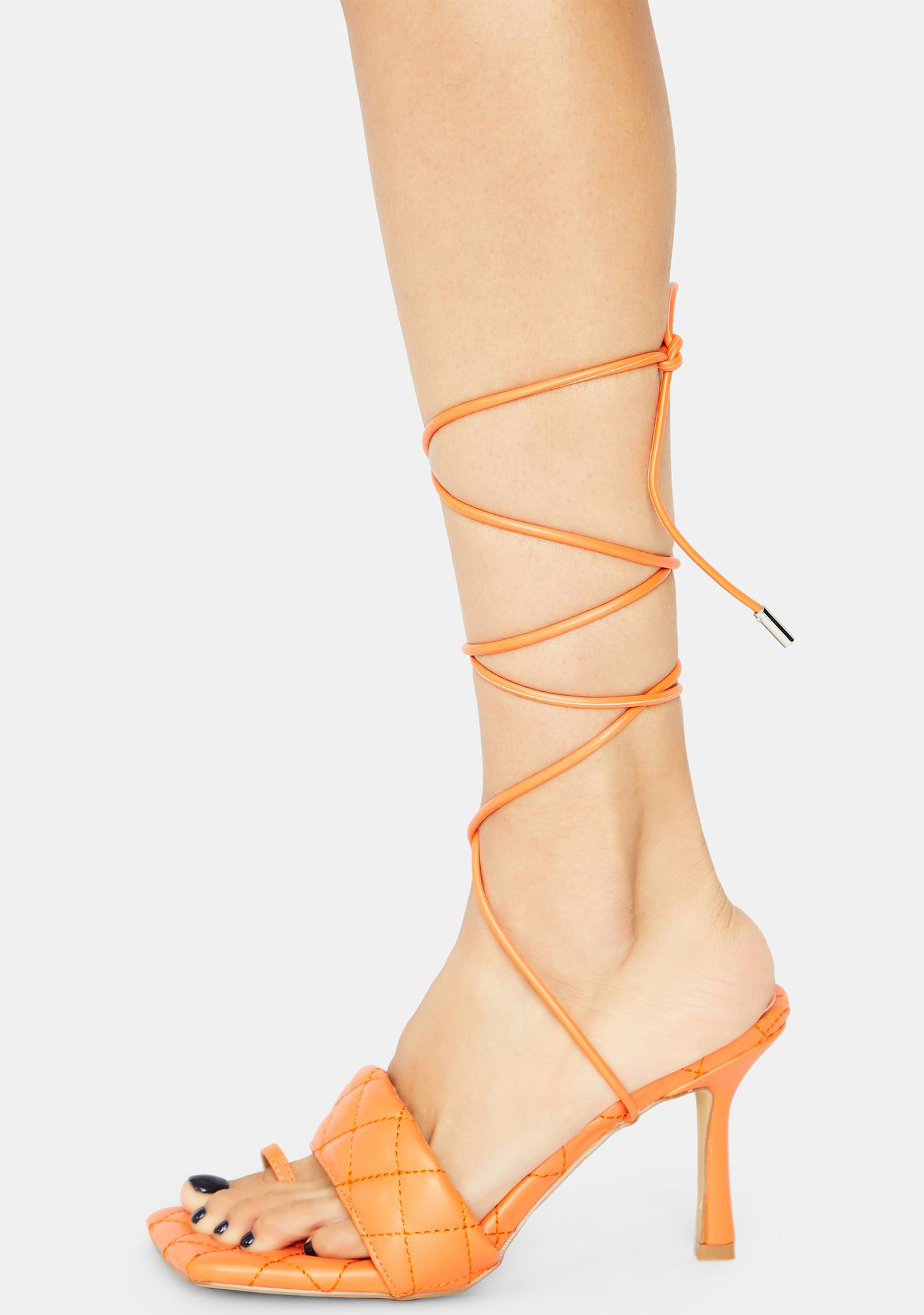 Citrus Risk It All Quilted Lace Up Kitten Heels