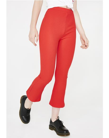 Flame Just A Friend Ribbed Culottes