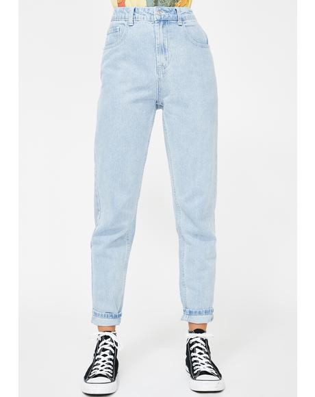 Bleach Wash Mom Jeans