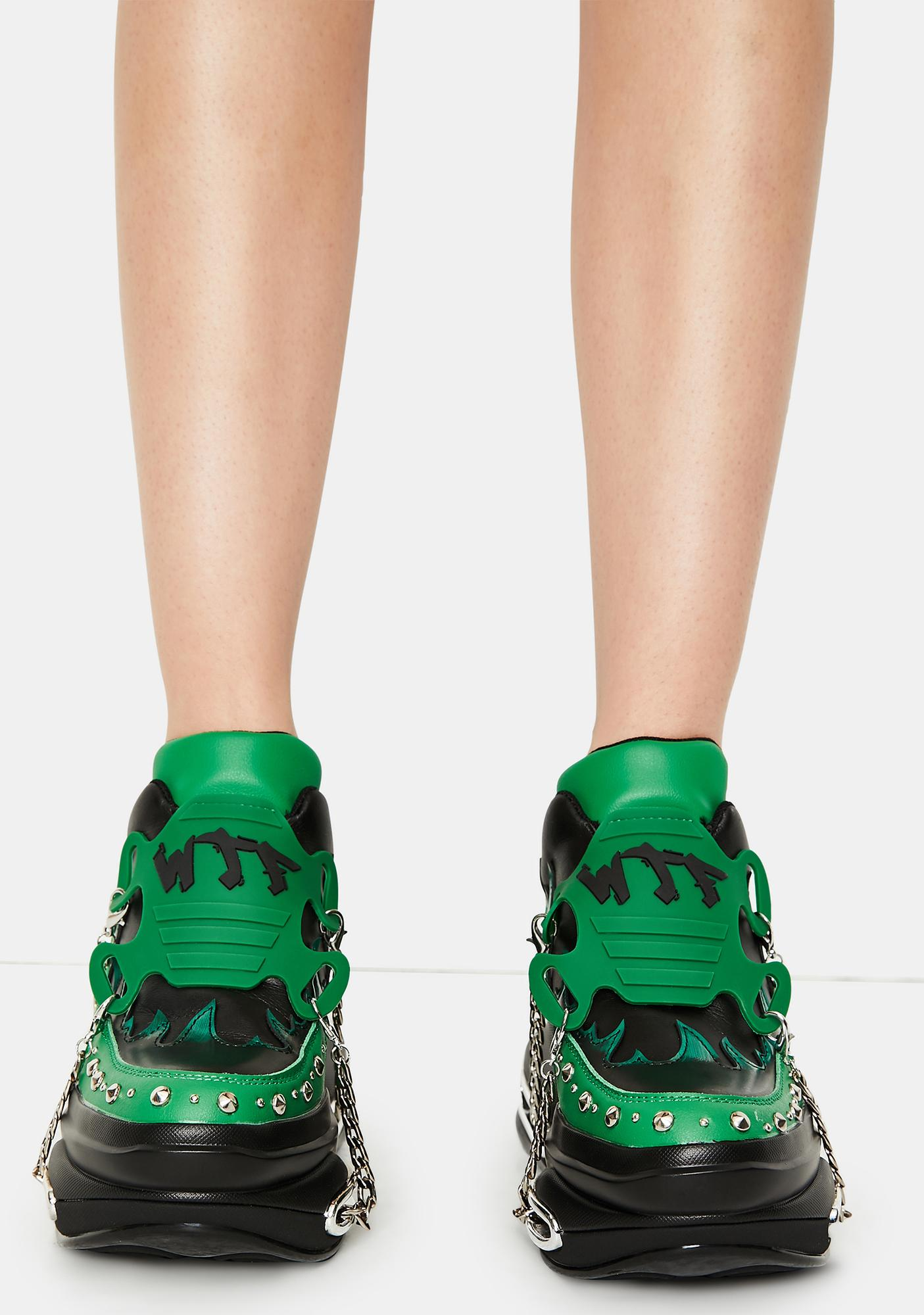 Emerald Big Rush Chain Platform Sneakers
