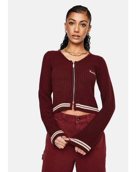 Burgundy Fitted Zip Up Knit Tee