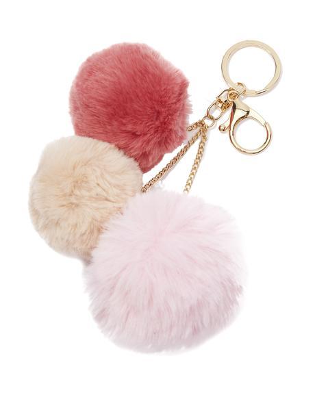 Triple Pom Pom Keychain