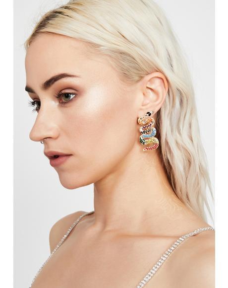 Wavy Bitten By Badness Snake Earrings