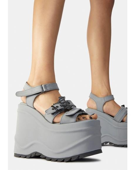 Gray Creature Of Hell Platform Sandals