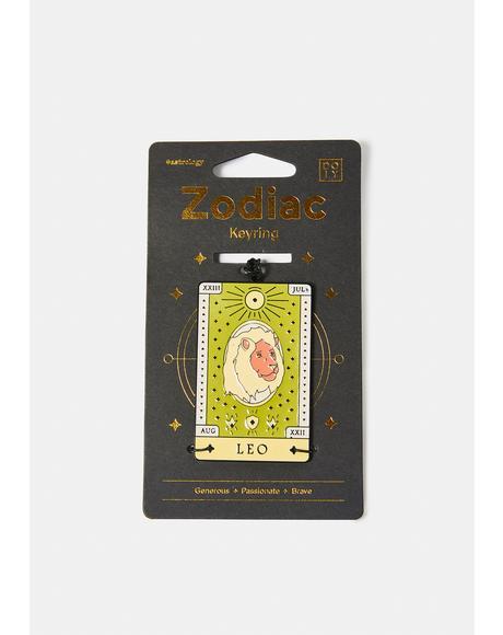 Brave Leo Zodiac Keychain