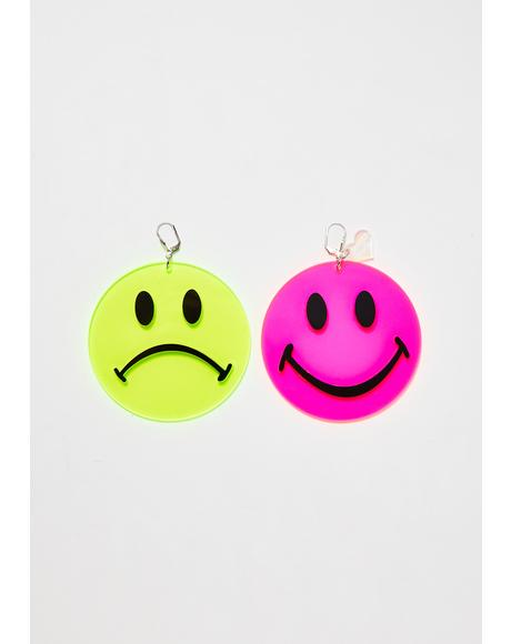 Neon Happy Sad Smiley Earrings