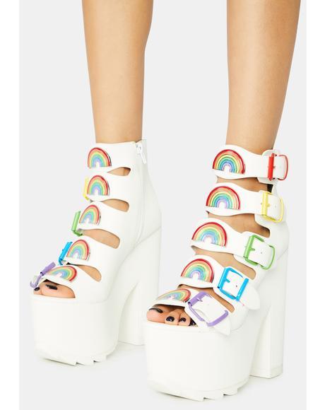 Dreamscape Rainbow Platform Heels