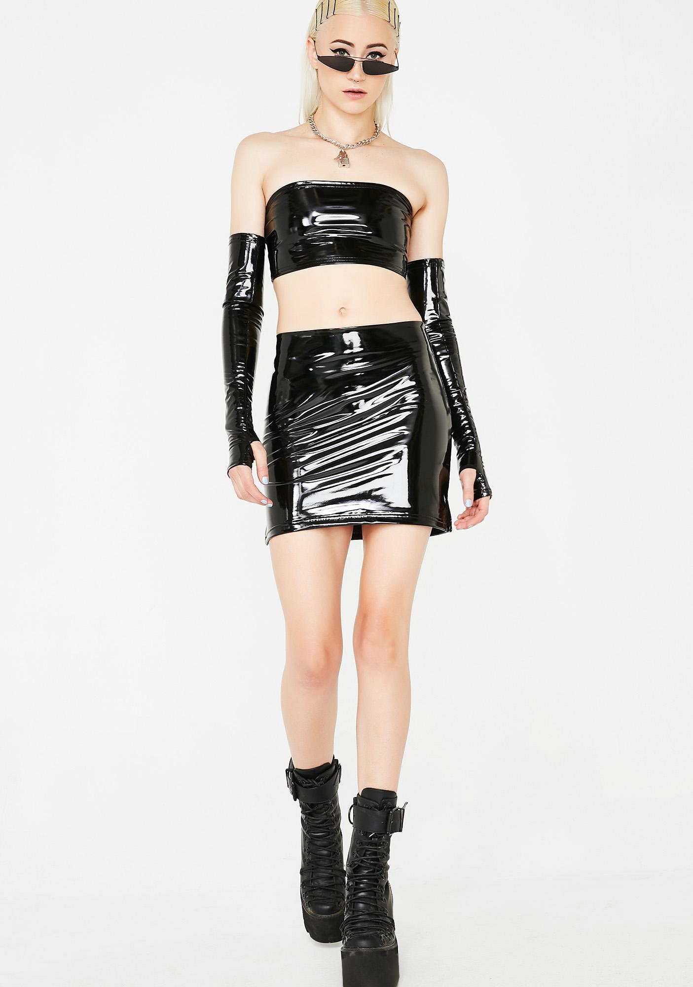 Current Mood Lethal Kiss Vinyl Mini Skirt