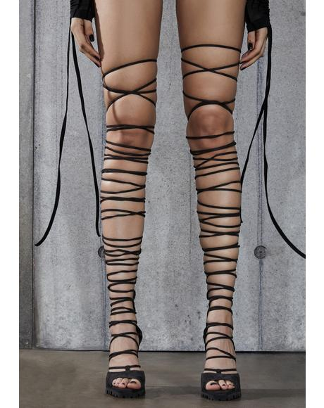 Snare Leather Thigh High Wrap Heels