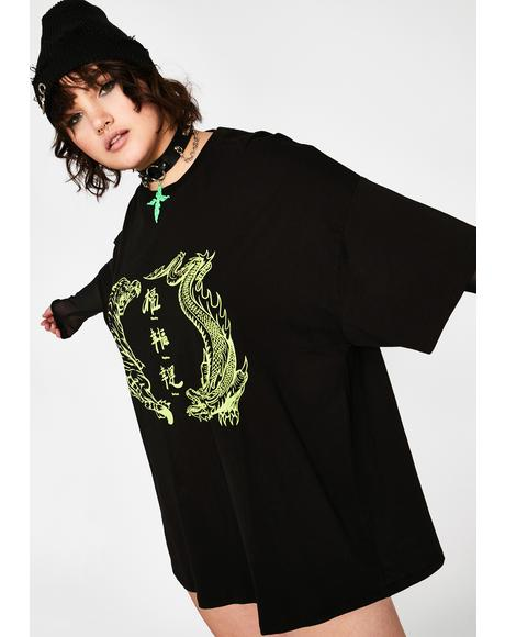Plus Green Dragon Vs Tiger T-Shirt Dress
