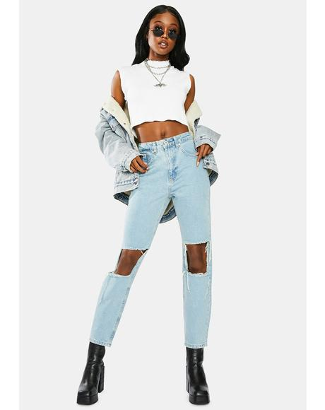 Burner Cut-Out Mom Jeans